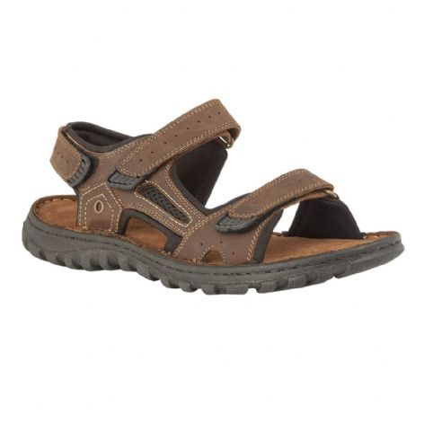 Lotus Douglas Mens Brown Leather Velcro Sandals